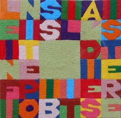 Alighiero Boetti, Le infinite possibilità di esistere, 1989, ricamo su tessuto, cm. 26,5x26,5