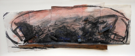 Marco Gastini, Norwegen, 1985, tecnica mista su legno, carta e collage, cm. 68x170