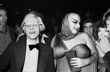 Andy Warhol and Divine arrive at a party in Andy's honor at the re-opening of the Copacabana nightclub. © 2003 Allan Tannenbaum