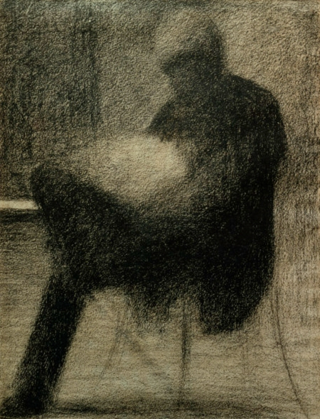 G.Seurat, Sitzender Mann (..) lesend - Seurat / Man reading / Chalk drawing -