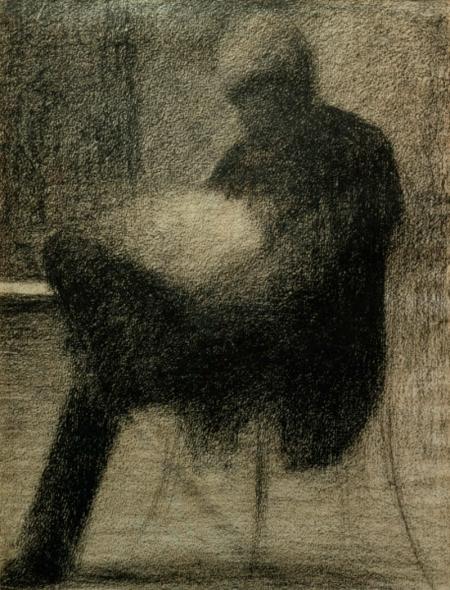 G.Seurat, Sitzender Mann (..) lesend - Seurat / Man reading / Chalk drawing -