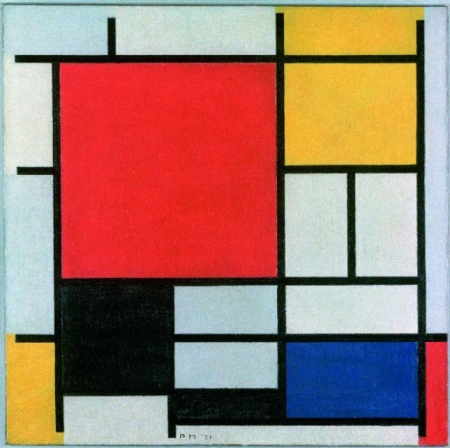 Composition with Large Red Plane, Yellow, Black, Gray and Blue, 1921