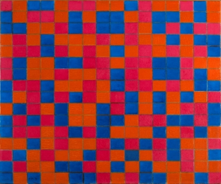 Composition with Grid 8: Checker board Composition with Dark Colours, 1919